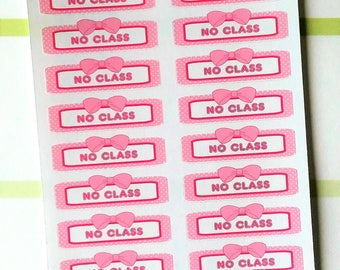 Student No Class Bow Quarter box Planner Stickers
