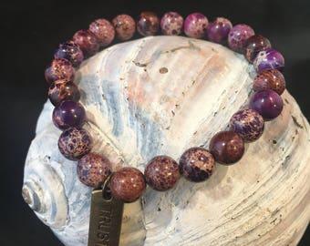 Genuine Imperial or Sea Sediment Jasper 8mm Round Smooth Stretch Elastic Bead Bracelet / Stackable / Copper / Trust
