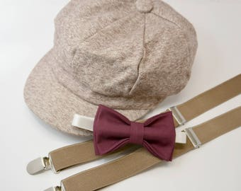 Bow Tie Suspenders Newsboy Cap Hat  / Dark Wine Burgundy Bow Tie / Taupe Suspenders / Kids Baby Page Boy Outfit Set / size  8 mon - 10 Years