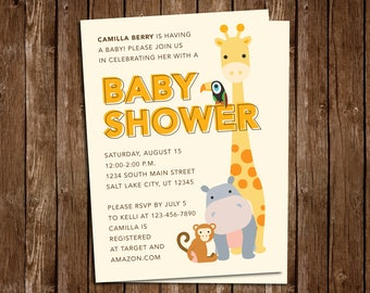 Jungle Animal Baby Shower Invitation - DIY Printable PDF Download
