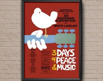 Woodstock Concert Poster, 1969, woodstock 1969, woodstock printable, woodstock poster, woodstock festival, woodstock art, woodstock print