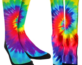 Tie Dye Crew Socks - Tie Dye Socks -Unique Socks -Novelty Socks -100% Polyester Socks for Maximum Comfort - FREE Shipping