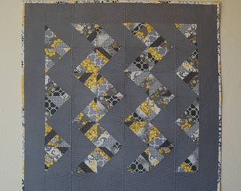 Quilted Wall Hanging Table Topper Chevron Gray Yellow