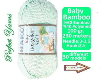NAKO baby hosgeldin, bamboo yarn, anti allergenic yarn, Antibacterial yarn, Baby Yarn, soft yarn, baby accessories, baby hat, baby sock yarn