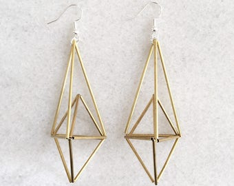 Geometric Himmeli Earrings • Statement Earrings  • Brass • Copper