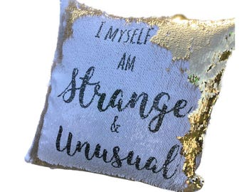 Personalised sequin reveal cushion, pillow, strange and unusual, mermaid, gold
