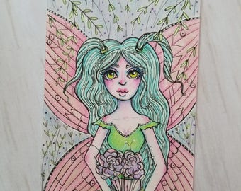 Original Garden Flower Fairy Artist Trading Card