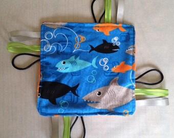 Shark Fabric Toy, Sensory Toy, Baby Sensory Toy, Shark Baby Toy, Tagged Sensory, Tagged Blanket for Baby, Under the Sea, Baby ribbon toy