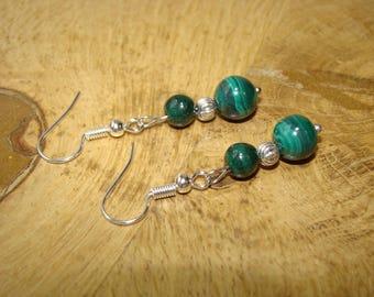 Natural malachite stones earrings