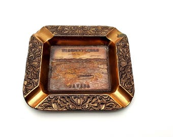 Niagara Falls Copper Ashtray Carved Intricately Canada Side of the Falls Made in Japan Cigarette Smoking Break Gift for Smoker Souvenir