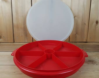 Vintage Tupperware 70s Red Party Platter Divided Sections Large Round Vegetable Tray Dip Space Container Canada Kitchen Crackers
