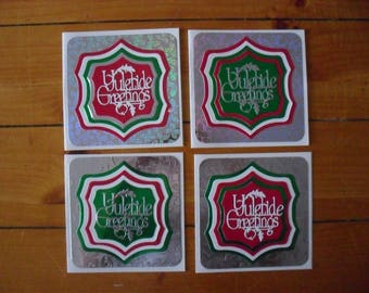 """4  x  6"""" Square Hand Made Christmas Cards  (Tis the Season/Yuletide Greetings)"""