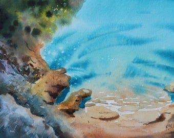 ORIGINAL Watercolor Painting - Turquoise Seashore landscape - Seacoast - seashore paintings - turquoise sea - nature art - Nature landscape
