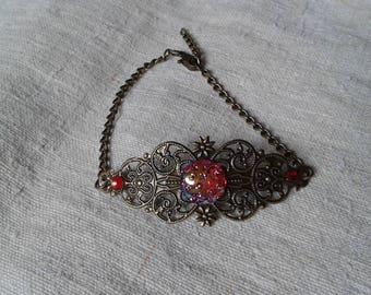 print and Red rhinestone cabochon bracelet