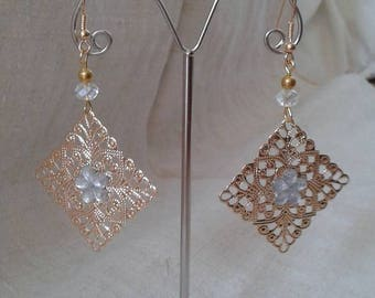 """Earrings """"gold square charm"""""""