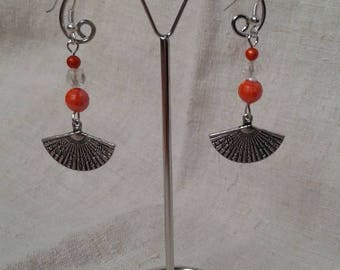 beads and silver fan earrings