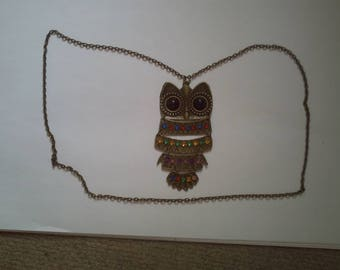 """""""big bronze and multicolored OWL"""" necklace"""