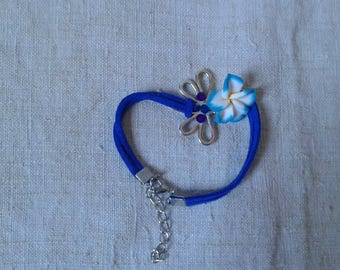 Bracelet silver Dragonfly and blue flower