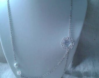 """double silver chain and white heart"" necklace"