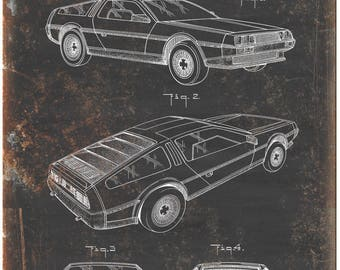 """AMC DeLorean United States Patent 1986 Black 10"""" x 7"""" Retro Look Metal Sign"""