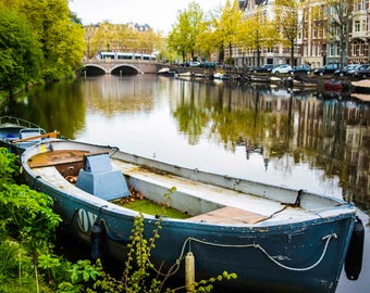 Boat in Canal in Amsterdam