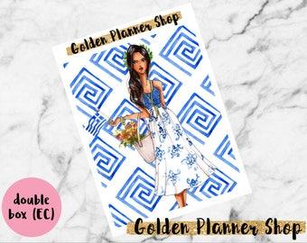 DOUBLE BOX Discover Greece, Planner Sticker for Erin Condren Vertical Planner