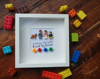Custom Made//Family//Shadow BoxFrame//Minifigures//Gift//Personalise//Mothers Day//Birthday//Fathers Day//Geek//Lego//Lego Family//
