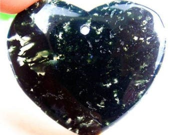 Natural Moss Agate Pendant Natural Green Love Heart Natural Stone Pendant Chrysocolla Pendant Bead 47*43*6mm