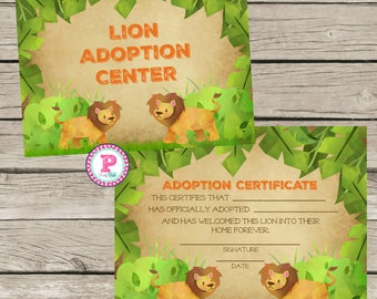 Lion Pet Adoption Certificate Adopt a Pet Birthday Party Ideas Adoption Center Stuffed Animal Jungle Pet Shop Zoo Safari Animals Watercolor