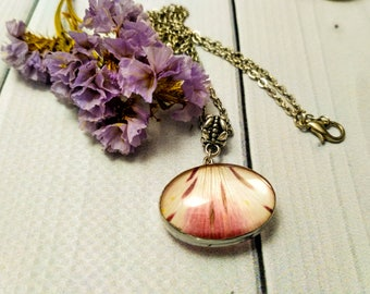 Flower petal Real flower Pink flower Flower necklace Nature necklace Dried flower Pressed flower Pressed plant Pale pink Rustic jewelry Gift