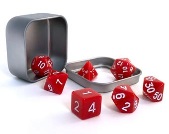 Red Opaque Polyhedral Dice Set