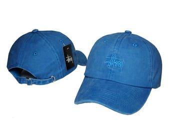 Suede blue stussy baseball cap
