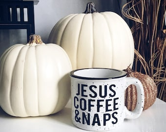 Coffee And Jesus / Jesus And Coffee /Stoneware Mug / Jesus Coffee Naps / Fall Mug / Winter Mug /Coffee Mug