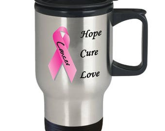 Breast Cancer Awareness Travel Mug Stainless Steel 14 oz