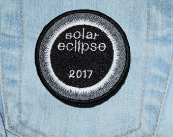 Total Solar Eclipse 2017 Yellowish Orange *OR* White/Glow in the Dark iron-on Embroidered Patch