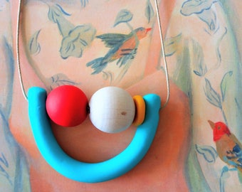 Handmade Polymer Clay Necklace - Belize Collection - Three Bead Woody U