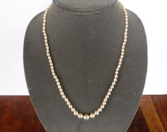 Vintage Faux Pearl Knotted Necklace Gold Tone