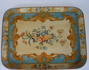 Vintage Paper Mache Tray Floral Japan