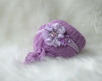 SET,lavender newborn Wrap headband set,Newborn wrap set,New born wrap, Photo Prop,newborn stretch wrap,newborn wrap and headband,tie back