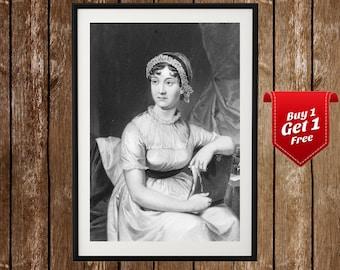 Jane Austen Portrait, Jane Austen Poster, Jane Austen Print, Pride and Prejudice, 18th Century, Vintage Jane Austen Portrait, Literature