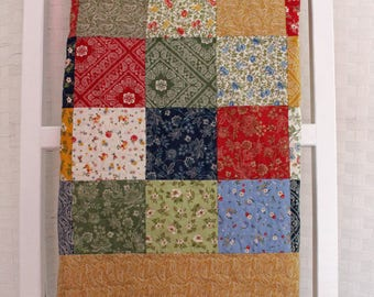 Patchwork Baby Nursery Quilt, Baby Blanket, Modern Quilt, Baby Shower Gift, Baby Gift, Handmade Quilt, Nursery Bedding, Quilt Size, 36 x 40