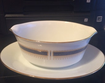 Noritake Blue Dawn pattern 6611 Gravy Boat with Attached Underplate.