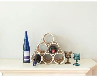 Vintage Wine Rack | Rattan Wine Rack | 6 holder wine | Kitchen