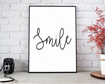 Smile, Motivational,Living Room Decor,Decor,Trending,Art Prints,Instant Download,Printable Art,Wall Art Prints,Digital Prints,Best Selling