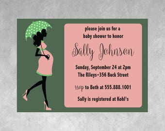Baby Shower Invitation Pregnant Mother To Be Umbrella Pink Green Digital Download Printable Custom Baby Girl Baby Boy 5x7