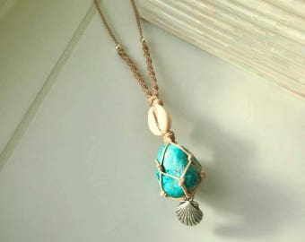 Chrysocolla Shell Macrame Necklace
