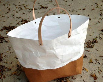 Tyvek and Kraft paper Two tone TOTE LUNCH BAG /market bag/handbags/lunch...