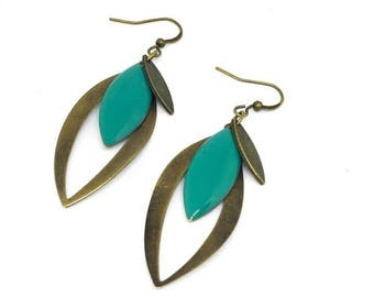 "Trendy and chic ""turquoise/bronze"" sequin earrings"