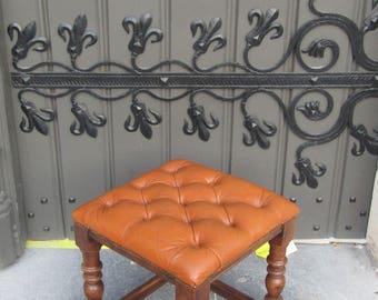 Leather stool orange/Golden nails/