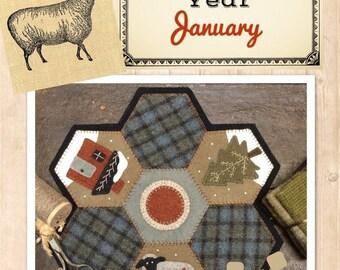 Wool Applique Hexi penny rug pattern by Buttermilk Basin January